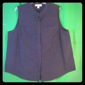 Michael Kors  Sleeveless Navy Cotton Shirt Size 2X